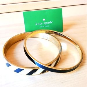 Kate spade bangle bracelets black white gold